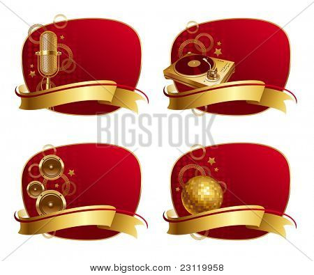 Vector red frames with golden musical equipments & banner