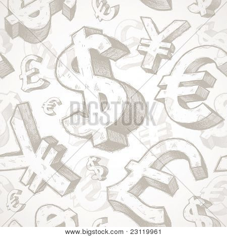 Vector seamless background with hand drawn currency signs