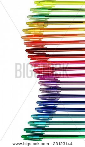 Assortment of coloured pencils, isolated on white background