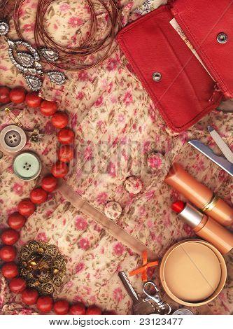Textile background, feminine world.