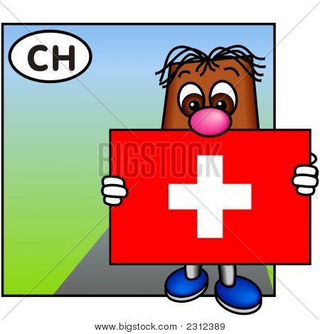 'Brownie' Showing The Flag Of Switzerland
