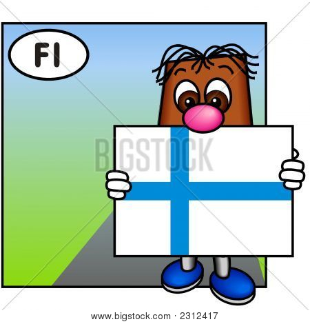 'Brownie' Showing The Flag Of Finland