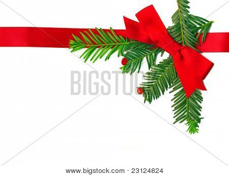 Beautiful Christmas Decoration with a ribbon isolated on white
