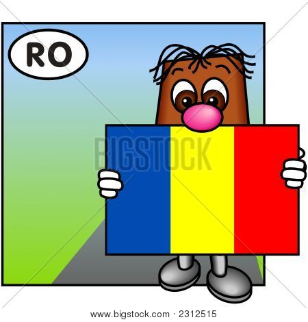 'Brownie' Showing The Flag Of Romania