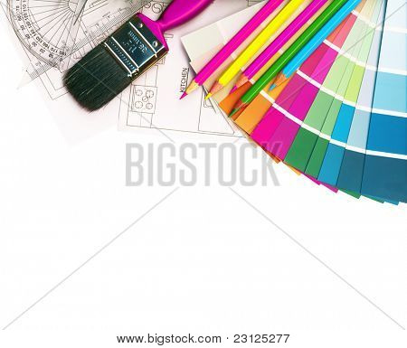 color swatches and plans isolated on white, with Clipping Path