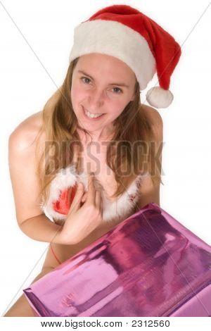 Suprised Happy Christmas Girl