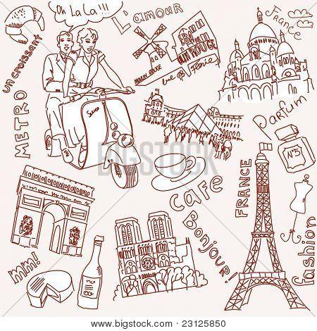 Sehenswürdigkeiten in Paris doodles