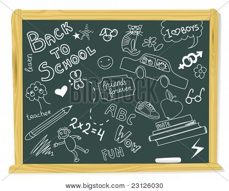 realistic vector-illustration of a vintage blackboard with scribbles