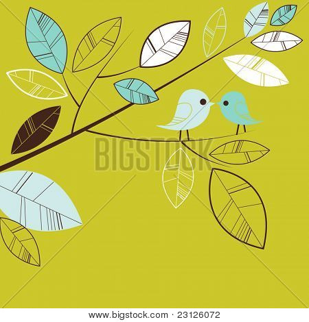 Vögel auf einem Ast küssen