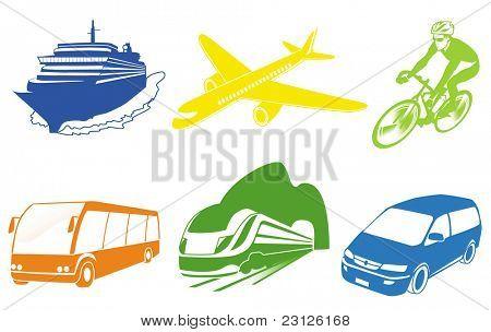 Viaje conjunto de iconos de transporte. Vector. Iconos de vehículos