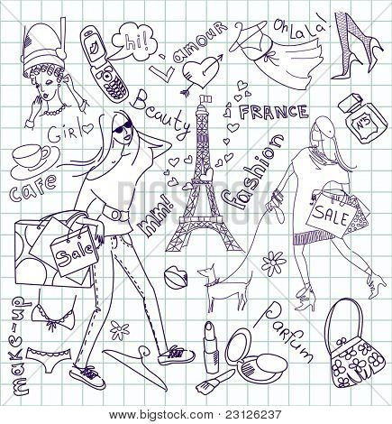 feminine doodles, Shopping in Paris