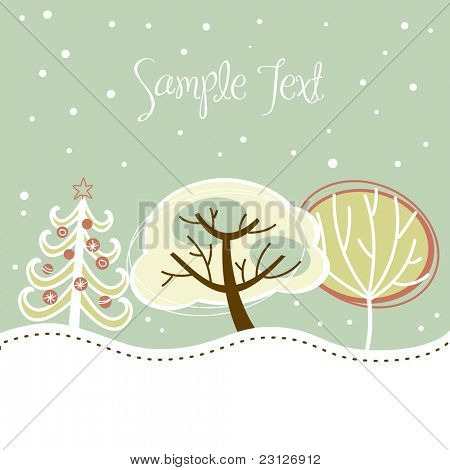 Retro Christmas card with cute trees and snow on it