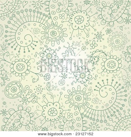Hand-Drawn Abstract Doodles and Flowers Border Design Vector Illustration