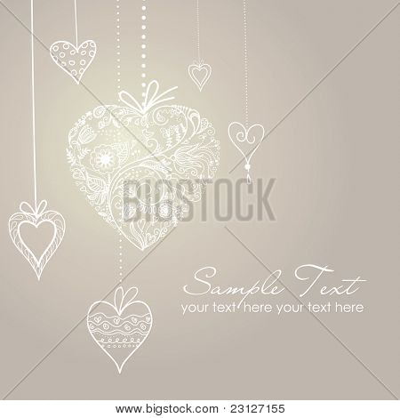 Cute background with decorated hearts