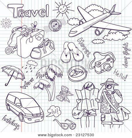 Viagem de mão desenhada doodles. Ilustração vetorial.