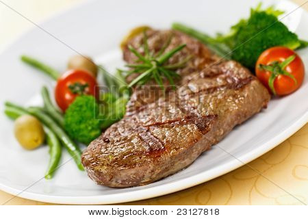 Grilled New York Strip Steak with Vegetables