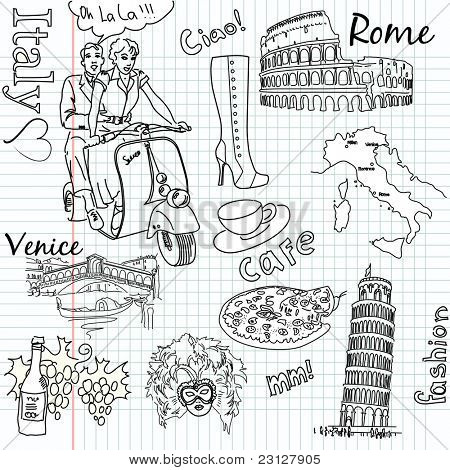 Sehenswürdigkeiten in Italien doodles