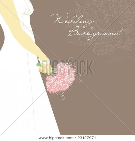Wedding Background. Bride with bouquet
