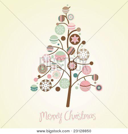 Ilustración del hermoso árbol de Navidad. Tarjeta de Navidad