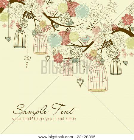Floral Sommer Hintergrund. Vögel aus ihren Käfigen-Konzept-Vektor