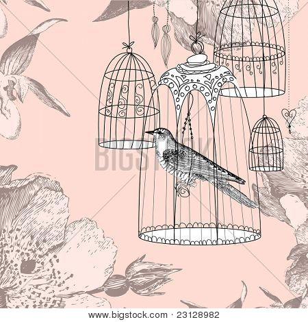cartão vintage com um pássaro na gaiola
