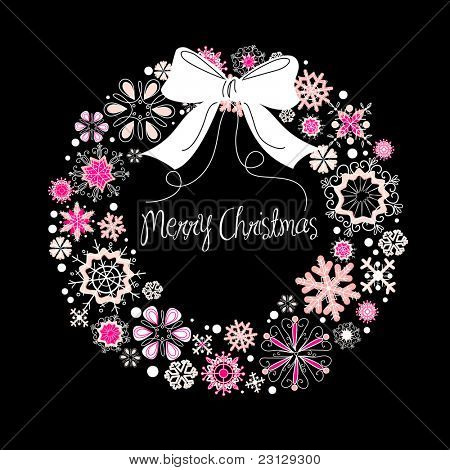 Christmas wreath on black background