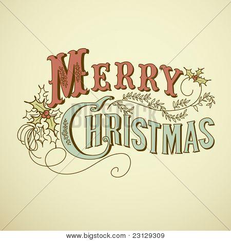 Letras de feliz Natal cartão de Natal vintage