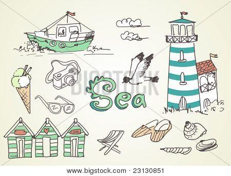 Garabatos de vacaciones de verano! Ilustración del vector.