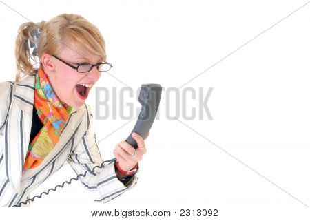 Angry Businesswoman On Phone