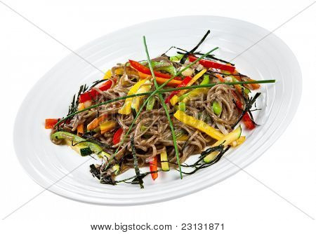 Soba noodles with Vegetables isolated on a white background