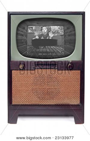 1950 Vintage TV Television  Isolated on White Background