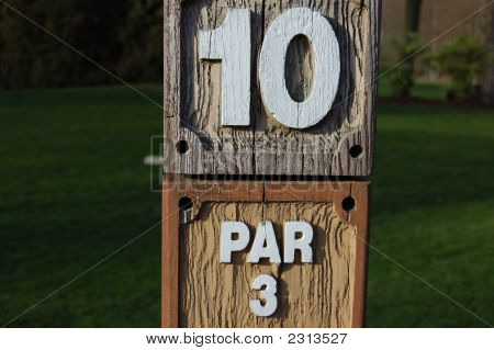 10Th Tee Marker On Woodlawn Golf Course, Germany
