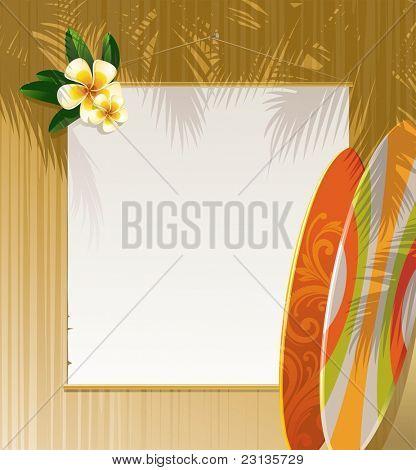 Flores Frangipani, tablas de surf y banner en una pared de madera - resort & ilustración de viaje. (Vector v