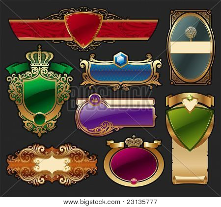Set of golden luxury framed label. (Vector version of this work is available in my portfolio: # 65052976)
