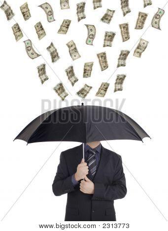 Dinheiro chover para baixo em uma pessoa