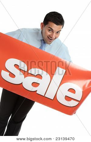 Happy Businesman Or Saleman With Sale Sign