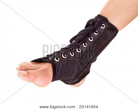 Trauma of ankle in brace. Isolated.