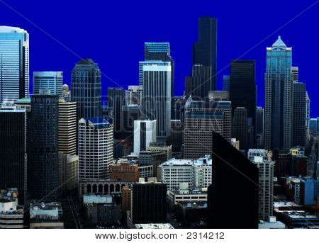 Seattle Skyline With Blue Background