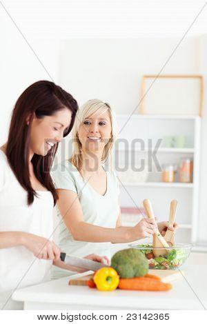 Gorgeous Women Preparing Dinner