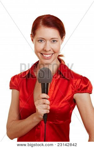 Smiling Woman With Microphone