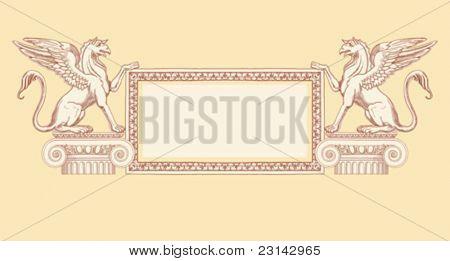 """Quadro vintage & grifos, sentados em uma coluna Ionic - mão desenhar esboço baseado em """"as cinco ordens de arco"""
