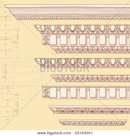"Vintage ornaments - hand draw sketch based ""The Five Orders of Architecture"" is a book on architecture by Giacomo Barozzi da Vignola from 1593. Vector illustration."