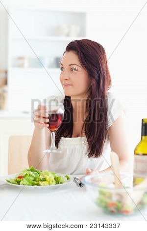 Close Up Of A Beautiful Women Drinking Wine