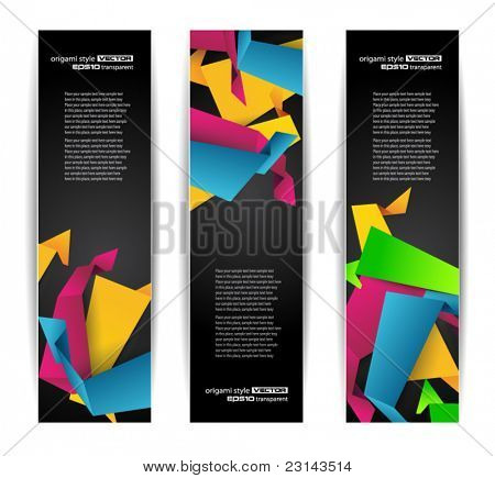 Set of abstract modern header banner for flyer or website with abstract origami design elements inside.