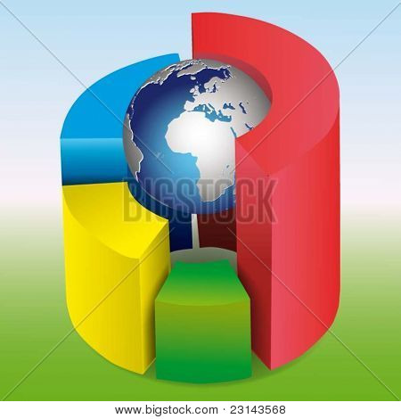 Vector Illustration3D pie chart with a globe on a white background