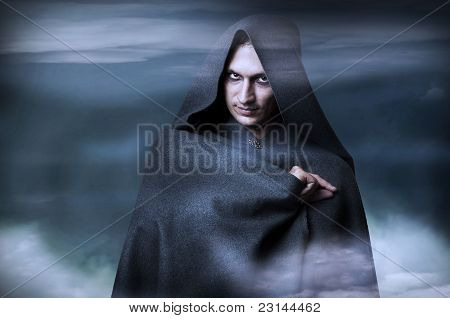 Halloween Concept. Fashion Portrait Of Male Witch