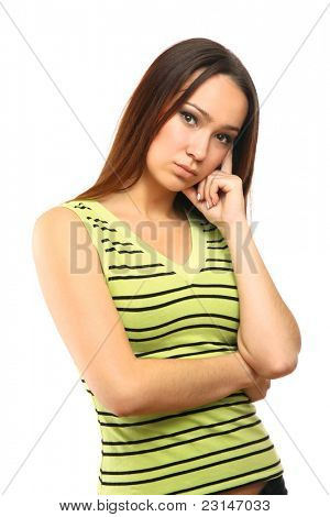 Young female thinking and pondering over something  isolated on white background