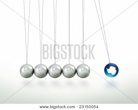 Newtons Cradle Pendulum Lead Ball Masked In illustration Of Antartica