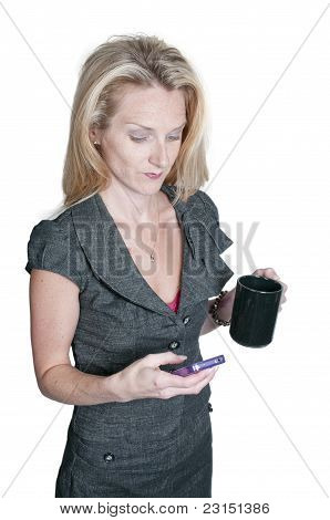 Beautiful Woman Texting With Coffee