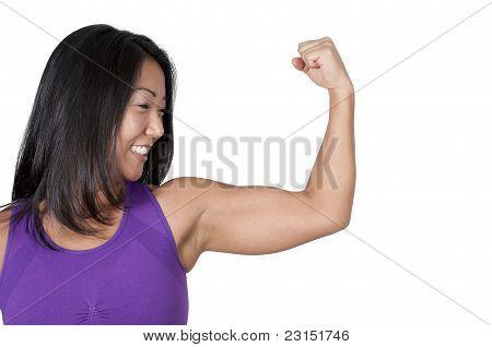 Asian Woman Flexing Her Muscles